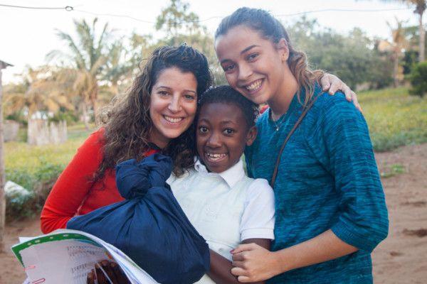 Esther, Scarla y Manuela el día del cumpleaños de Scarla