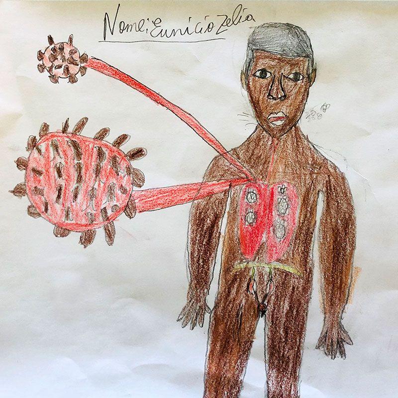 Los niños y niñas de la Fundación Khanimambo hacen dibujos de la crisis del coronavirus
